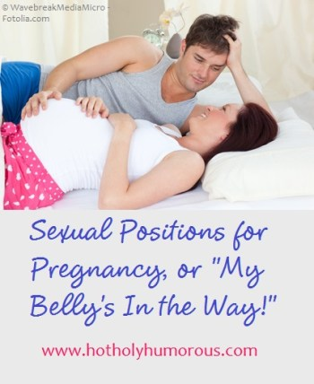 Pregnant wife with husband in bed + blog post title
