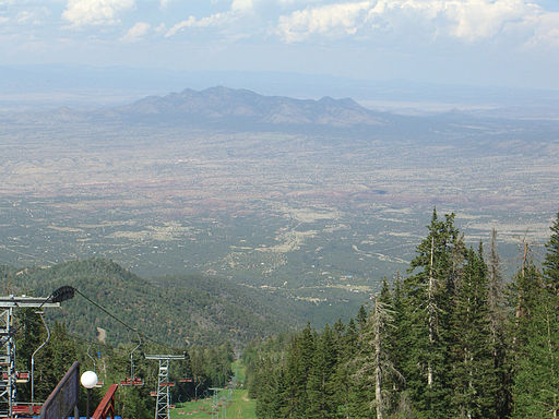 View of Albuquerque from Sandia Peak, with tramway in left of photo