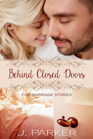 Book cover - couple close to each other on top half, wedding bed on bottom half