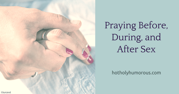Blog post title + husband and wife hands clasped on bed