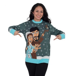 Jesus, Mary & Joseph take a selfie sweater