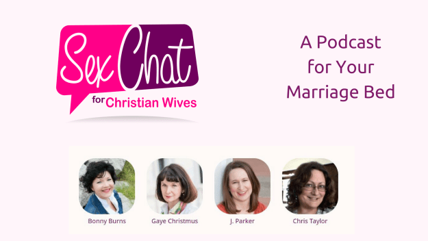 Sex Chat for Christian Wives Logo + faces of podcast hosts