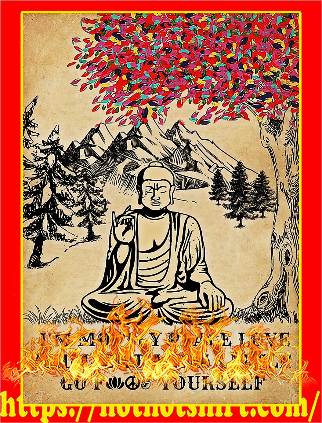 Download HOT Buddha I'm mostly peace love and light poster