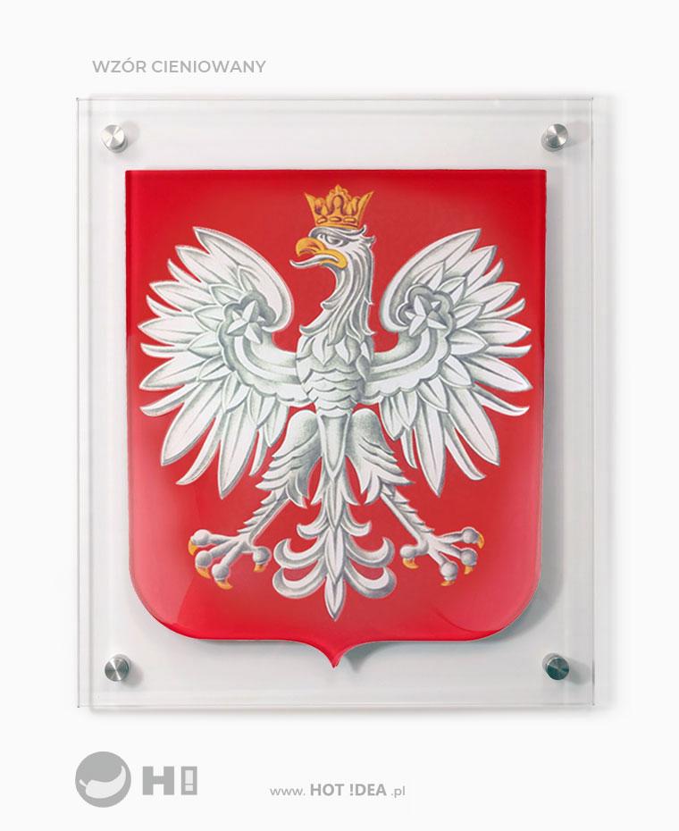 Szklany Herb Polski do zawieszenia na ścianie. Przestrzenne godło ze szkła., Godło do urzędu, godło do szkoły.