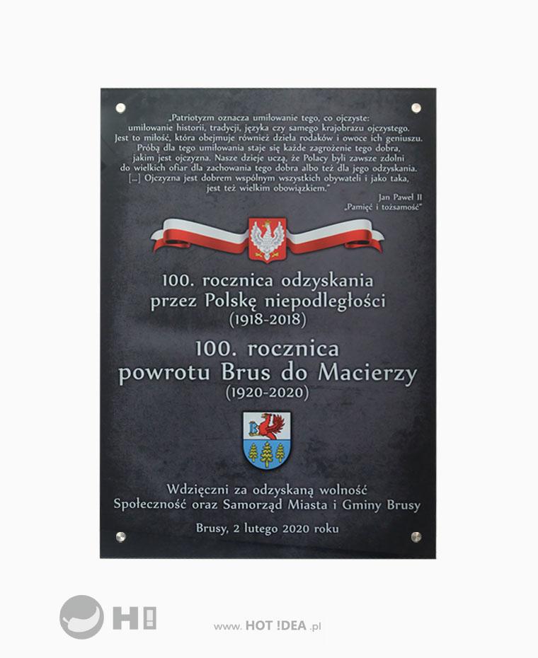 Szklana tablica pamiątkowa - 100 lecie odzyskania niepodległości
