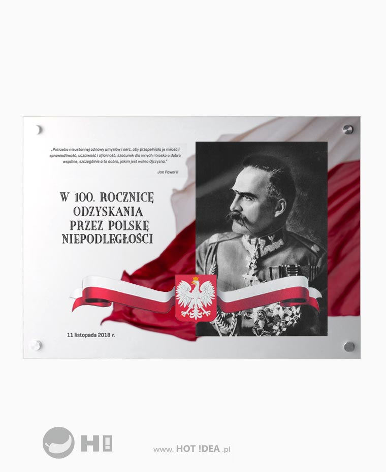 Producent tablic pamiątkowych. Szklana tablica pamiątkowa - 100 lecie odzyskania niepodległości - Józef Piłsudski - tablica patriotyczna