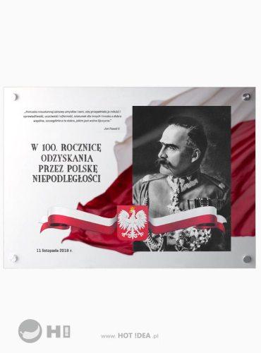 Szklana tablica pamiątkowa - 100 lecie odzyskania niepodległości - Józef Piłsudski