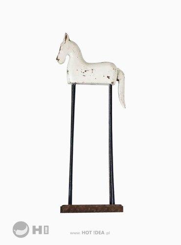 Dekoracja do salonu, prezent dla jeźdźca, drewniany biały konik