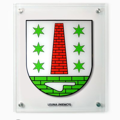 Szklany herb miasta Leuna - Stadtwappen aus Glas Leuna, Niemcy. Tablica na dystansach.