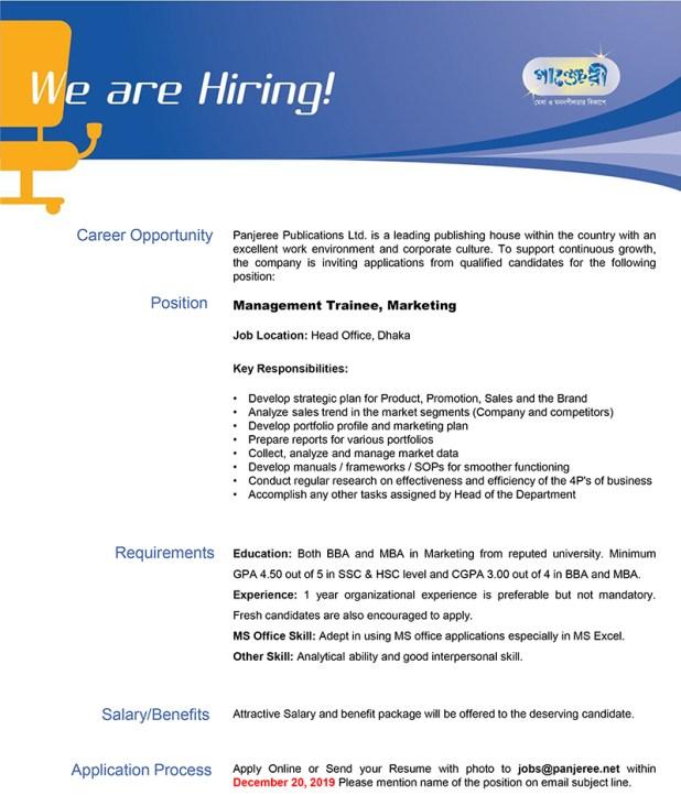 Panjeree Publications Job Circular 2020