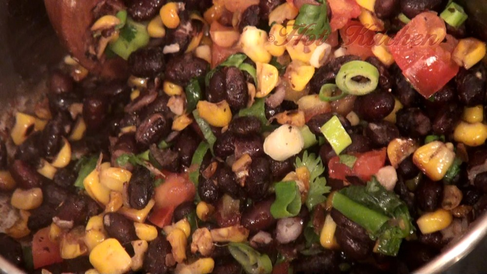 Hot Kitchen Black Beans with Roasted Corn Salsa Recipe Demonstration