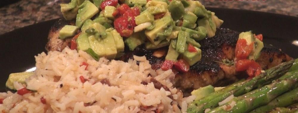 Hot Kitchen Grilled Chicken with Avocado Bruschetta Recipe Demonstration
