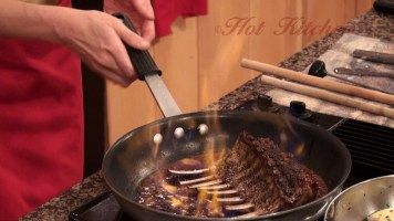 Hot Kitchen Flaming Rack of Lamb Recipe Demonstration