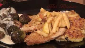 Hot Kitchen Pork Cutlets in Apple Reduction Recipe Demonstration