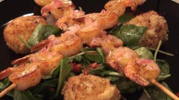 Hot Kitchen Shrimp Skewers Lemon Buerre Blanc, Roasted Garlic Polenta Croquettes, Recipe Demonstration