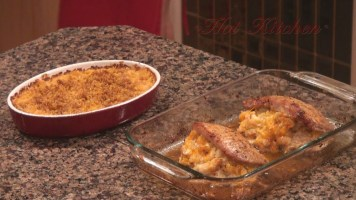 Hot Kitchen Shrimp Stuffed Pork Chop, epic mac n cheese, Recipe Demonstration