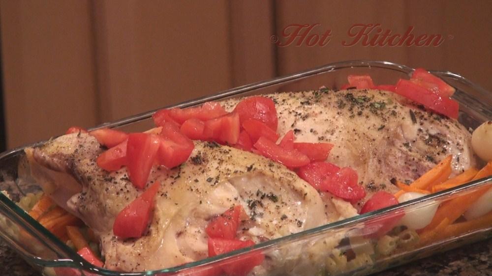Hot Kitchen Tipsy Chicken Bake Recipe Demonstration