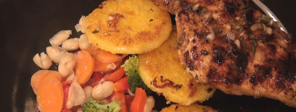 Hot Kitchen Tuscan Grilled Chicken, Polenta Medallions, Stewed White Beans Recipe Demonstration
