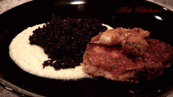 Hot Kitchen Pan Fried Pork Chop in Cormeal Crust, Forbidden Rice, and Zucchini Puree Recipe Demonstration