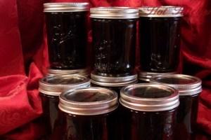 Finished seedless blackberry jam, hot kitchen jam recipe