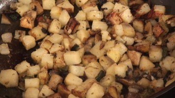 potato hash recipes - roasted pablano - Hot Kitchen recipe demonstration
