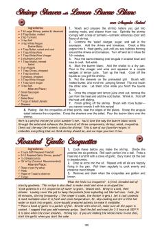 Cookbook screenshot showing recipe for Shrimp Skewers with Lemon Buerre Blanc, Roasted Garlic
