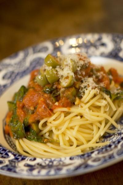Spaghetti with Puttanesca Sauce