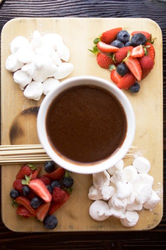Chocolate Soup with fresh berries and house-made marshmallows