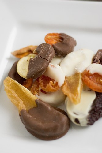 Dried Fruits dipped in chocolate and yoghurt