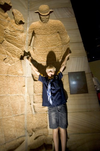 Sandstone statues and Alfie in the mix