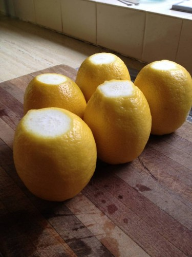 The lemons with their tops and bottoms cut off.