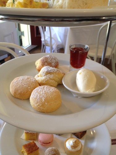 The two gluten-free scones are flatter and smaller