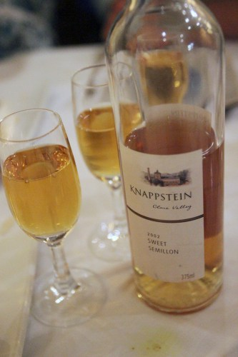 Desserts were enjoyed with a botrytis wine
