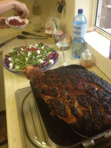 Pomegranate action and a slightly charred ham - it certainly wasn't as bad as it looks!