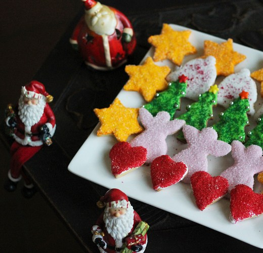 A mixed platter of hearts, angels, Christmas trees, Christmas Bells and stars