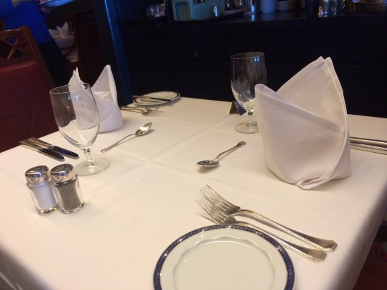 The table setting in the Vista Restaurant