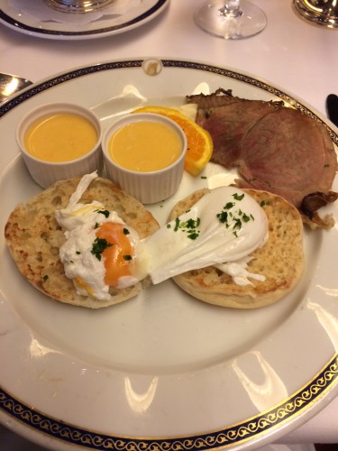 Eggs Benedict.  I didn't like the bacon on the ship.  Orange slices featured a lot on breakfast plates!