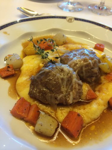 Braised Veal Cheeks with Parmesan Polenta.  Wasn't able to eat this.  The veal cheeks were very viscous and tough.