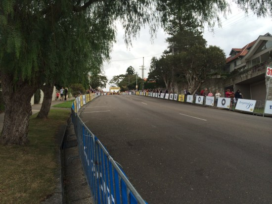 Looking up towards the finish line