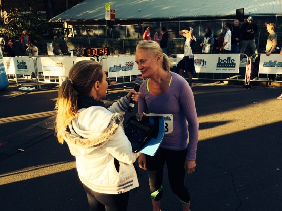 Being interviewed where I told her I hadn't run in a race since 1983