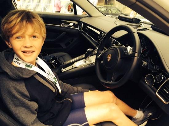 Behind the wheel of a Porsche police car
