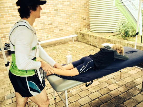 Getting treated by physios after two of his races