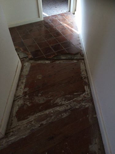 Some tiles still needing to be removed