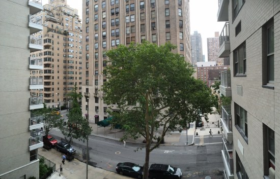Looking out onto Fifth Avenue from our apartment window