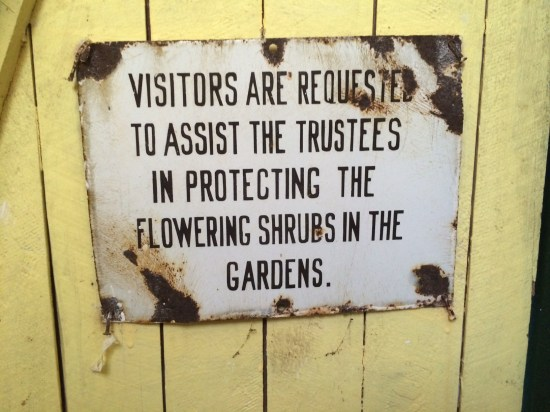 Sign on the inside of the bathroom door.  Personally didn't see any flowering shrubs.