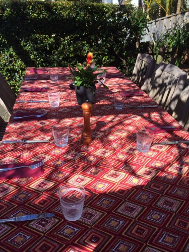 The table under the pergola