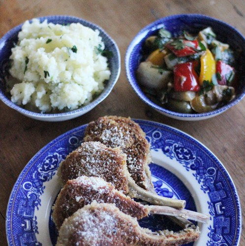 Parmesan Crusted Lamb Cutlets with Warm Salad and Potato Mash