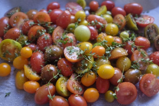 Tomatoes sprinkled with thyme
