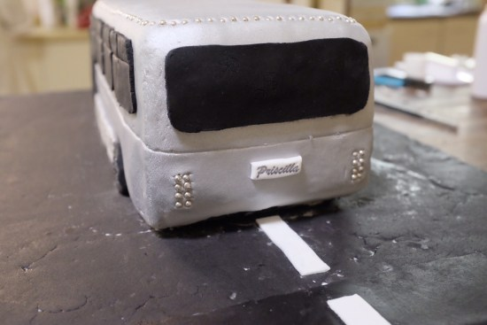 The only part of the bus that wasn't edible was the number plate - 'Priscilla' was written via a stamp.