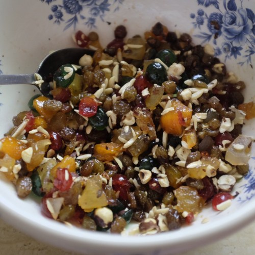 Soaking the fruit and nuts in rum